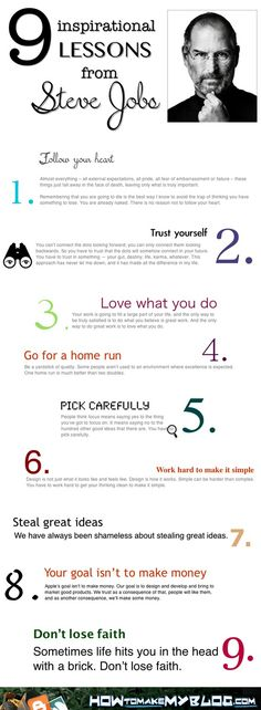 9 Inspirational Lessons From Steve Jobs [Infographic] The best advice for our soon to graduate students.