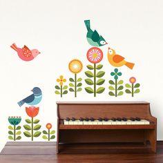Modern Birds Fabric Wall Decal
