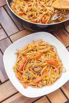 Cremig-scharfe Thai-Curry One Pot Pasta {vegan}    Lecker   hälfte des Rezeptes nehmen