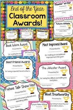 This End of the Year Class Awards is a 106 page document with 100 end of the year classroom award and superlatives certificates to give to your students. Each award is unique from all of the others so that you can have variety in your classroom. There is an award for EVERY student. The kids will love getting a special certificate at the end of the year to bring home and show their parents.