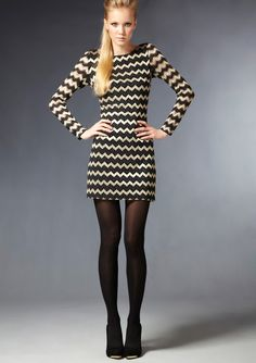 NINE WEST              Long Sleeve Chevron Dress