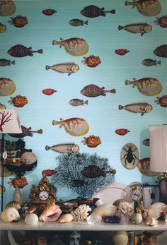 acquario wallpaper by pier fornasetti-for the guest bathroom downstairs?