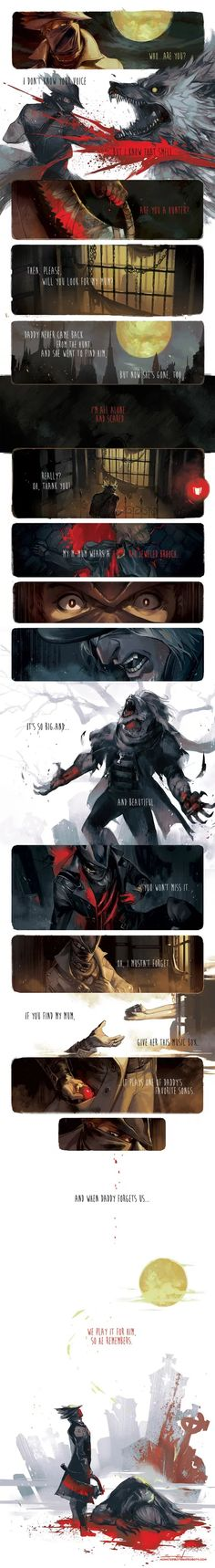 One of my favourite Bloodborne comic strips. I love it when they humanise our hunter. Dark Souls Art, Dark Art, Video Game Art, Video Games, Bloodborne Art, Soul Game, Old Blood, Dungeons And Dragons, Best Funny Pictures