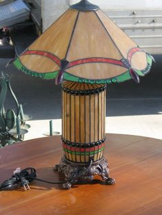 Arts and Crafts Style Leaded Glass Lamp
