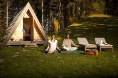 Lushna, Lushna glamping, glamping, A frame cabin, cabins, glamping cabins, larch, larch architecture
