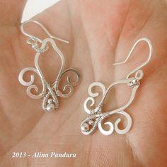 STERLING SILVER Fleur de Lis EARRINGS - Handmade Fleur de Lys Flower Jewelry Wire Wrapped Wirework Jewelry - Handmade Earrings