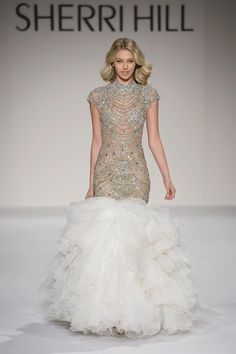 20b28fe8be Sherri Hill Couture Runway Fashion Show White and Silver Beaded Dramatic  Mermaid Dress with high neckline
