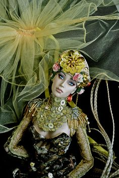 green yellow and gold fashion art doll by sybarite