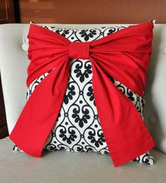 I like this Lovely Black Bow on Designer Material Over-sized Bow Pillow sixteen x sixteen    This Pil...