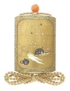 An inlaid gold lacquer four-case inro 19th century