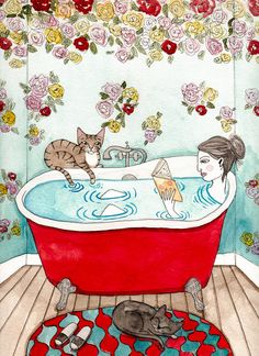 "Bath Time With Cats Original Cat Folk Art by KilkennyCatArt. ""Bath Time"" An original watercolor painting. Life with cats. =P Painted on Stratmore 400 series, cold pressed watercolor paper. Size x - sprayed with a matte varnish. I Love Cats, Crazy Cats, Illustrations, Illustration Art, Ryan Conner, Cat Drawing, Whimsical Art, Cat Art, Watercolor Paintings"