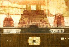 Katarzyna Budka - Święte miasto piramid 3 moje #lithography #intaglio #mayan #city