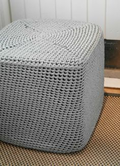 Cube crochet foot stool
