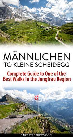 Jungfrau Switzerland: how to walk from Kleine Scheidegg to Männlichen. Jungfrau Switzerland: how to walk from Kleine Scheidegg to. Europe Travel Tips, Travel Destinations, Glamping, Switzerland Destinations, Visit Switzerland, Hiking Guide, Hiking Trails, Visit France, Winter Travel