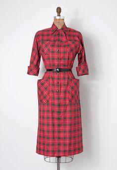 vintage 1940s dress / 40s dress / plaid dress / the by SwaneeGRACE