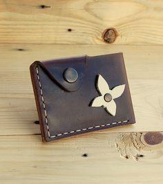 Wallet leather wallet woman slim wallet minimal brown wallet  genuine leather wallet credit card wallet card holder travel wallet