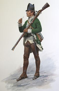 Delancey's First Battalion, (Loyalist) 1777-78 : This is the winter uniform which consisted of brown woollen overalls and leather cap. In the summer it would be a felt hat and white linen overalls or breeches. In 1778 the coats changed to red faced green from the previous green faced white.