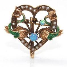 Vintage Antique 14k Yellow Gold Enamel Fish Dragon Heart Opal Pearl Pin Brooch   eBay