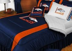 Denver Broncos NFL Bedding - Sidelines Comforter and Sheet Set Combo by Sports Coverage. $103.49. This is a great Denver Broncos NFL Bedding Comforter and Sheet set combination! Buy this Microfiber Sheet set with the Comforter and save off our already discounted prices. Show your team spirit with this great looking officially licensed Comforter which comes in new design with sidelines. This comforter is made from 100% Polyester Jersey Mesh - just like what the play...