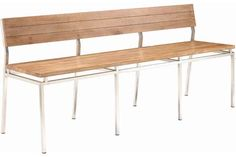 """Phase II Bench with Back   W 68.0"""" D 19.0"""" H 29.5""""   Seat Height: 18.5""""  Seat Depth: 16.0""""  Wood: Solid Reclaimed Teak/Stainless Steel  Finish: Antique Washed White -    Curtain Call Creations"""
