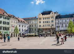 Bratislava, Slovakia - May 7, 2016: Main Square Of Bratislava (Hlavne Namestie) Is One Of The Best Known Squares In Bratislava. The Square Is Located In The Old Town And It Is The Center Of City. Stock Photo 425043109 : Shutterstock