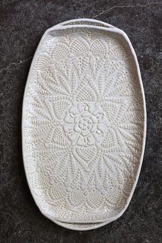 Handmade Pottery Tray White Lace Ceramic por FringeandFettle