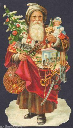 Christmas Bag Tree Santa Toys OldWorld Doll Art Embossed German Paper Scrap Card for sale online Christmas Scenes, Christmas Bags, Father Christmas, Christmas Mantles, Christmas Villages, Christmas Christmas, Christmas Ornaments, Vintage Christmas Images, Victorian Christmas