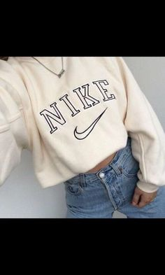 Sweater nike sweat white beige nike sweater sweatshirt jeans denim nike shoes long sleeves nude vintage oversized sweater shirt tan nike shirt old school Nike Pullover, Nike Hoodie, Nike Sweater, White Nike Sweatshirt, Nike Cropped Hoodie, Vintage Nike Sweatshirt, Sweatshirt Outfit, Nike Shirt, Sweater Shirt