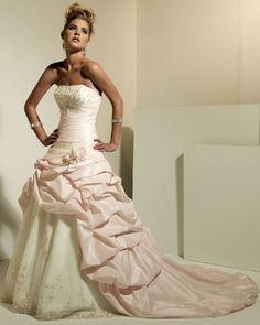 Sleeveless A-line taffeta floor-length bridal gown