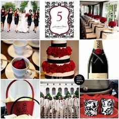 I really like the black and white with the pop of red! Great wedding color idea!
