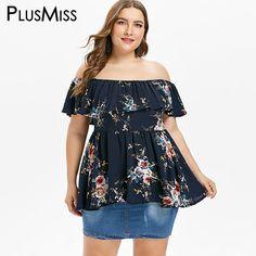 PlusMiss Plus Size 5XL XXXXL XXXL Sexy Off the Shoulder Ruffle Tunic Tops  Ladies Floral Flower Print Boho Loose Blouse Big Size 7a0ccf7f67a1