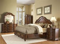 Tuscano Cherry Wood Low Profile Bedroom Set