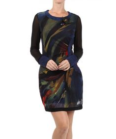 A pretty print and a scooped neckline flatter the figure in this number, while long sleeves and a chiffon overlay fashion a closet keeper.90% polyester / 10% elastaneHand wash; dry flatImported