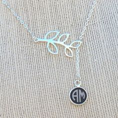 Branch Engraved Monogram Custom Necklace – Circle Font (2 or 3 Letter)