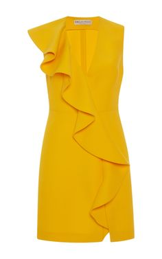 This **Emilio Pucci** dress features a cascading ruffle trim and v-neckline.