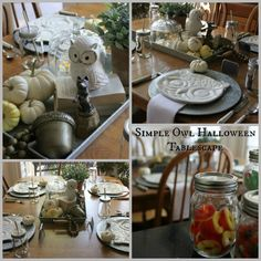 Simple Owl Halloween Tablescape at Blue Willow House
