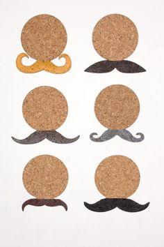 Mustache Cork Coasters.