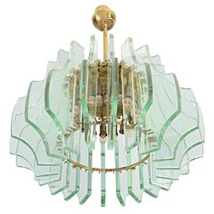 Exceptional chandelier by Max Ingrand for Fontana Arte  France  c. 1967  Exceptional glas chandelier