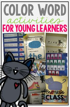 Pete the Cat themed color Words activities for Kindergarten and First Grade- perfect as literacy Color Word Activities, First Grade Activities, Spelling Activities, Kindergarten Colors, Kindergarten Centers, Kindergarten Reading, Literacy Centers, Kindergarten Worksheets, First Grade Reading