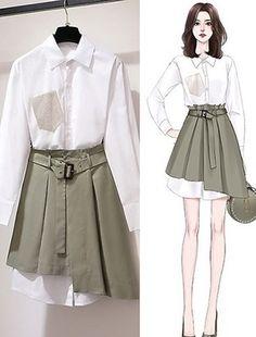 Teen Fashion Outfits, Cute Fashion, Stylish Outfits, Girl Fashion, Fashion Drawing Dresses, Fashion Illustration Dresses, Fashion Dresses, Mode Kawaii, Mode Kpop