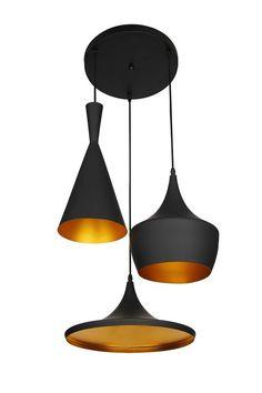 Lumenzy Triple - Hanglamp - Zwart, Goud