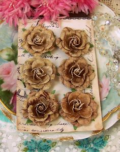 Prima Flowers Rustic Chic Set of 6 Natural Colored Tan Paper Roses for Vintage Inspired Paper Craft Projects