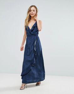 Liquorish Ruffle Maxi Dress - Navy