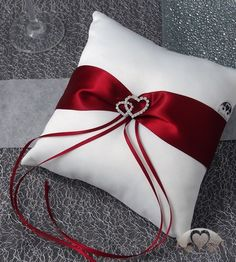 Ring pillow: Ring pillow Amore parentesi red and white pillow for wedding rings in . : Ring pillow: Ring pillow Amore parentesi red-white pillow for wedding rings in a large selection Wedding Pillows, Ring Pillow Wedding, Cushion Inspiration, Ring Bearer Outfit, Ring Pillows, White Cushions, Budget Wedding, Rustic Wedding, Wedding White