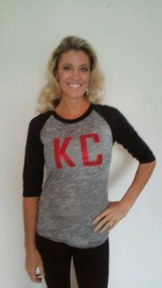 KC Red Glitter Block Raglan   Sideline Chic