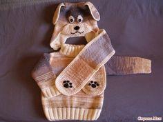 Комплект «Собачка» — шапочка, шарф и пуловер для мальчика (Вязание спицами и крючком) | Журнал Вдохновение Рукодельницы