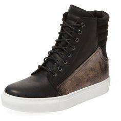 Renvy Women's Padded Leather Hi-Top - Black - Size 35 ($109) ❤ liked on Polyvore featuring shoes, sneakers, black, high top leather shoes, leather shoes, lacing sneakers, synthetic leather shoes and leather high tops