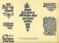 14- Diseño de titulos de los siglos XV y XVI con arreglos decorativos y estilos diversos de letras en negrita