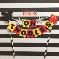 Mickey Mouse Birthday Age Cake Bunting Topper Oh Two-dles