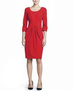 3/4-Sleeve Center-Pleat Sheath Dress by Lafayette 148 New York at Neiman Marcus.